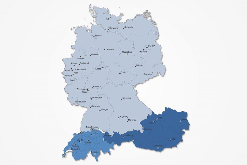 Karte vom D-A-CH Raum