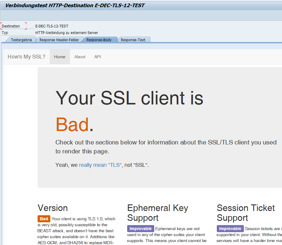 SSL Client is bad Meldung