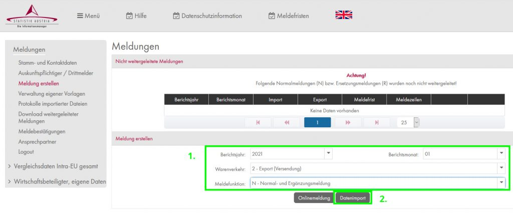 Intrastat Meldung erstellen im Statistik Austria Portal