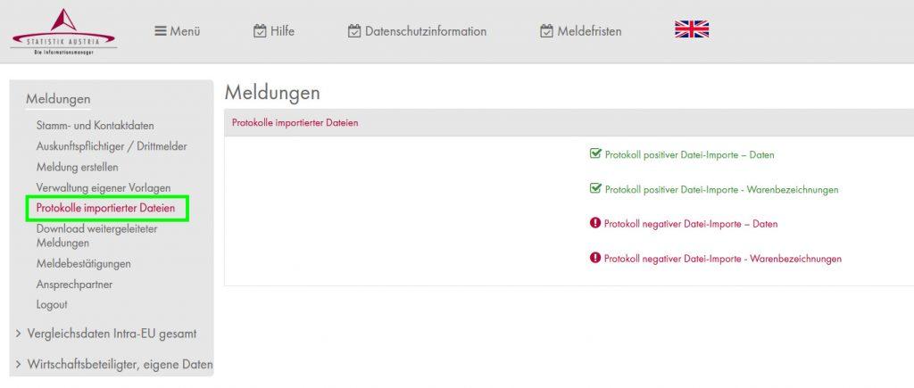 Protokolle im Statistik Austria Portal