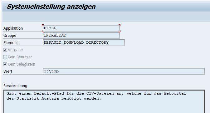 SAP Customzing pZoll Intrastat