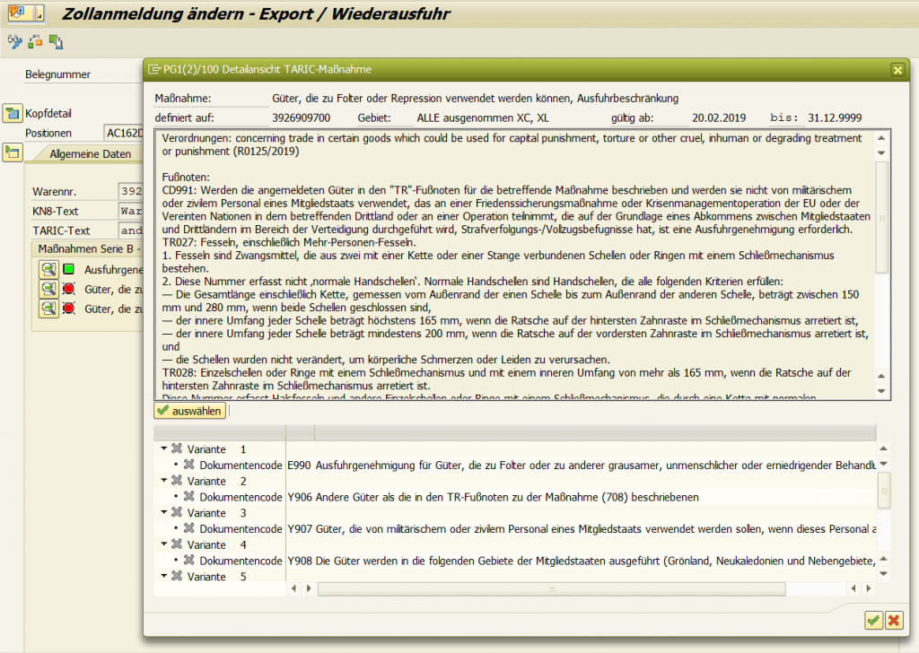 Detailansicht Maßnahmen pTaric4GTS von prodata