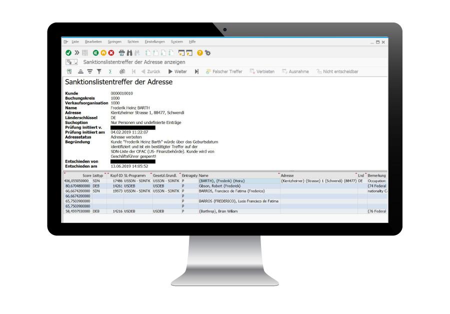 Sanktionslistenprüfung in SAP
